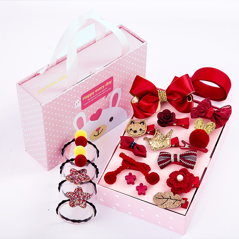 New Wine Red 18-piece Portable Drawer Gift Box