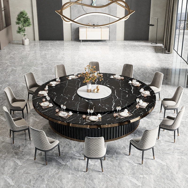 Jade Emperor hotel dining table Electric large round table Marble rock plate Invisible induction cooker fire pot 20 people automatic turntable