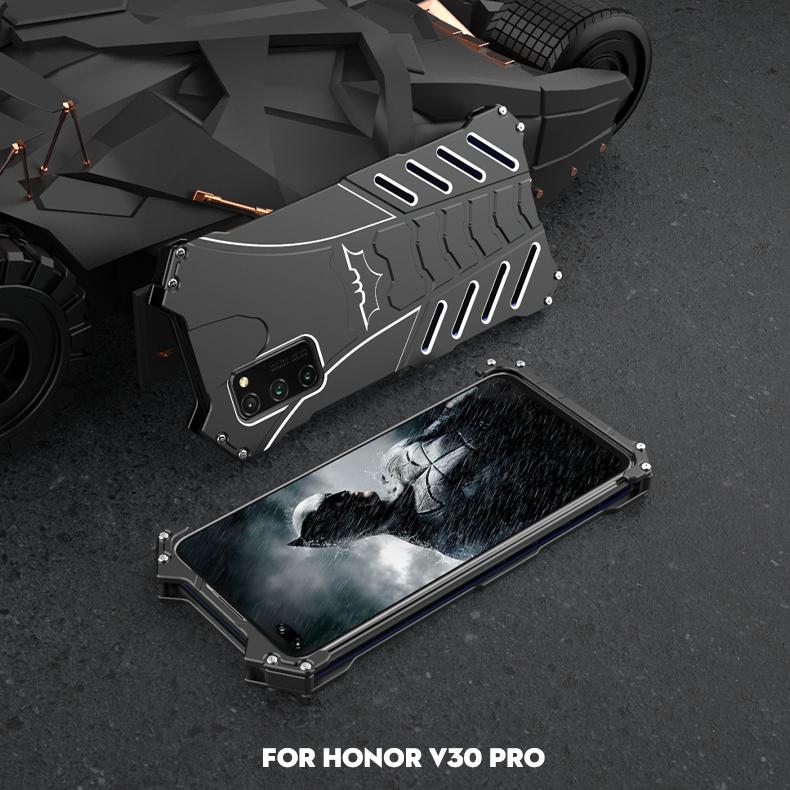 R-Just Batman Shockproof Aluminum Shell Metal Case with Custom Batarang Stent for Huawei Honor V30 Pro & Huawei Honor V30