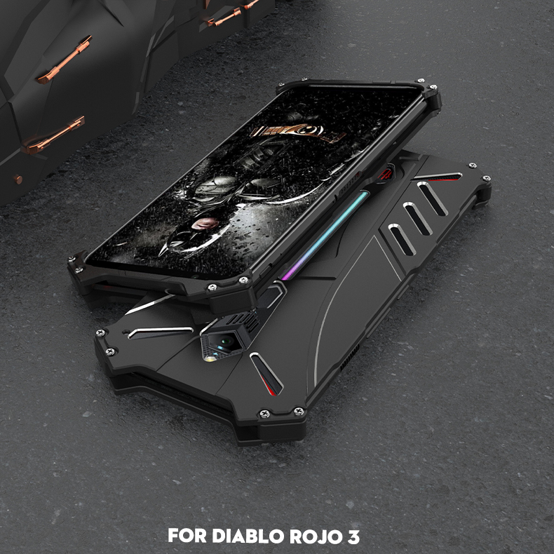 R-Just Batman Shockproof Aluminum Shell Metal Case with Custom Batarang Stent for nubia Red Magic 3