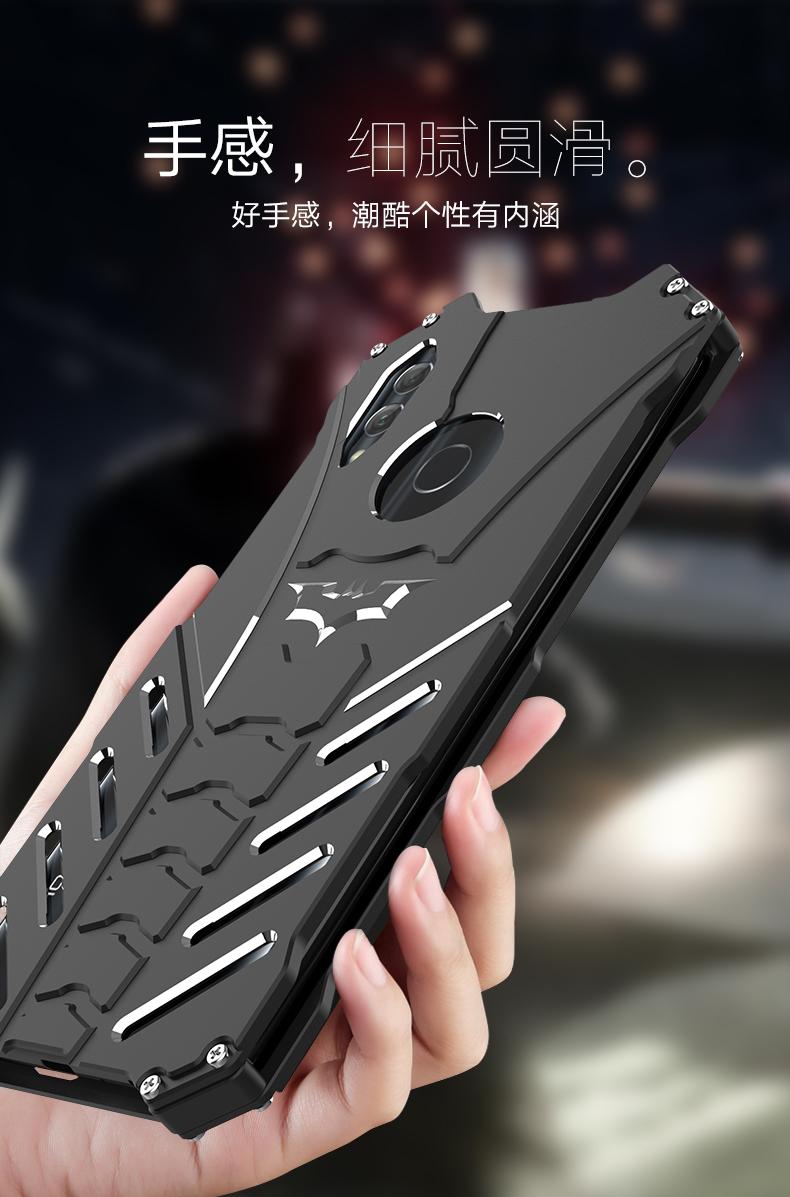R-Just Batman Shockproof Aluminum Shell Metal Case with Custom Batarang Stent for Huawei Honor 10 Lite