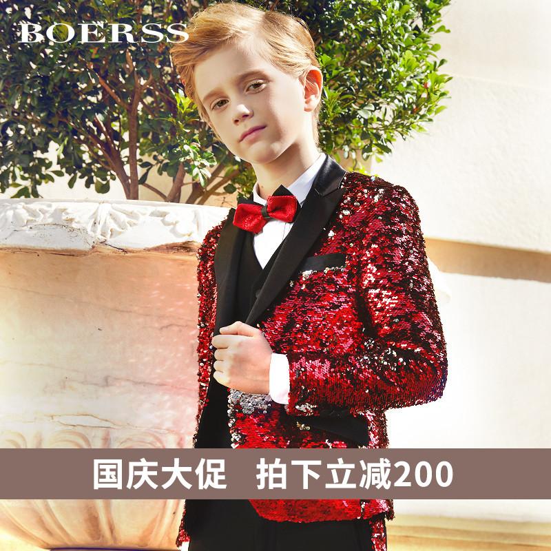 BOERSS男童西服英倫時尚兒童小西裝主持人禮服演出服花童秋款