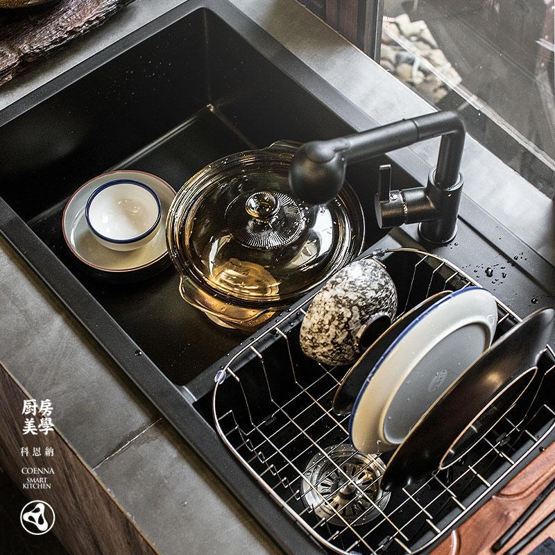 科恩納石英石水槽單槽雙槽廚房洗碗池花崗石洗菜盆小戶臺下盆家用