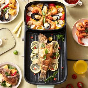 小熊电烧烤炉火锅烧烤家用电烤盘韩式多功能室内涮烤一体锅烤肉机