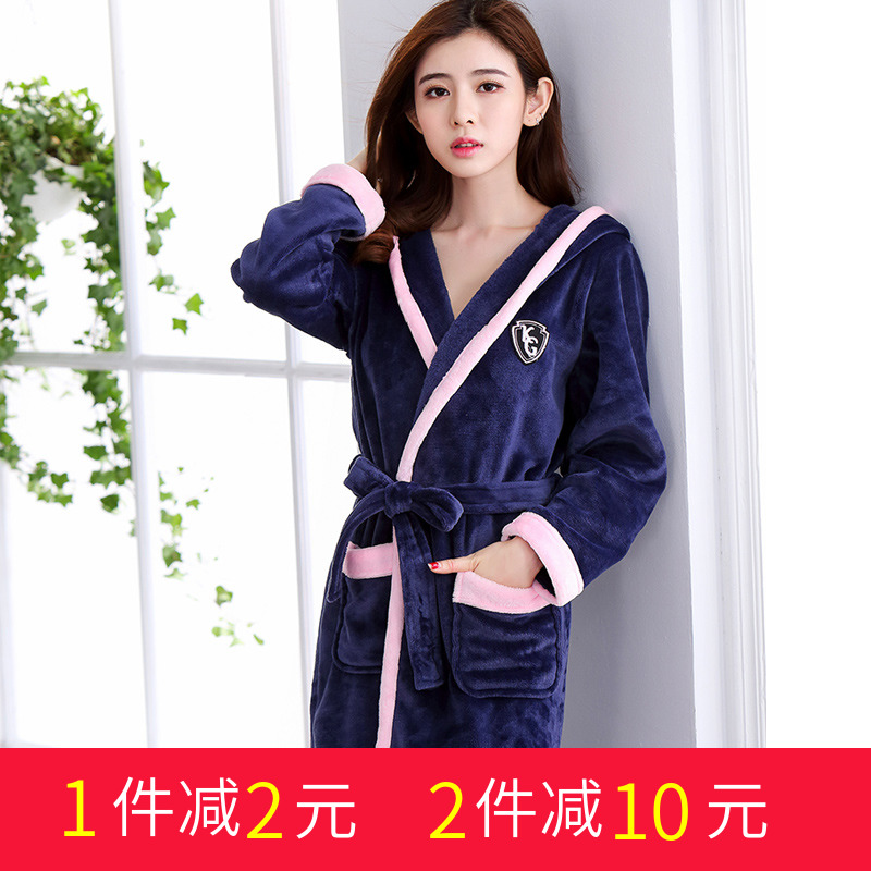 bb4d9f9dc Thickened flannel bathrobe female large size long robe sexy nightdress  coral velvet pajamas men and women autumn and winter bathrobe