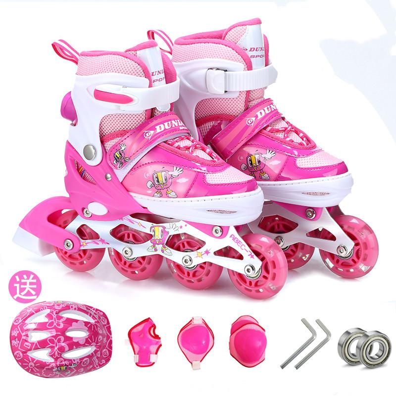 正品DUNLOP溜冰鞋儿童全套装男女直排轮旱冰轮滑鞋可调节闪光