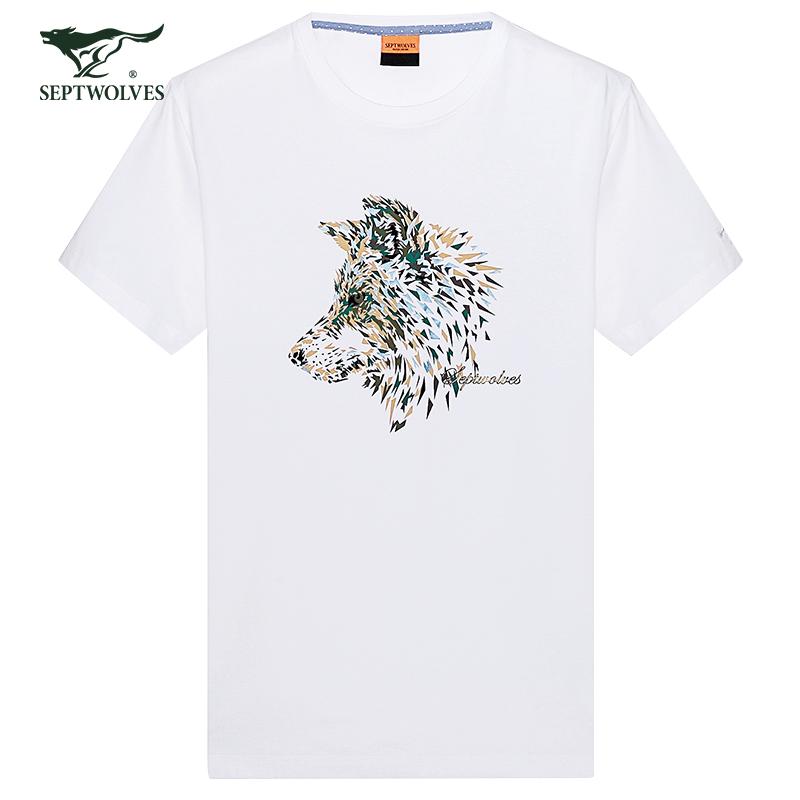 Bảy con sói mùa hè ngắn tay T-Shirt thời trang nam wolf head văn hóa mô hình in ấn nửa tay t-shirt triều vòng cổ ngắn tay áo