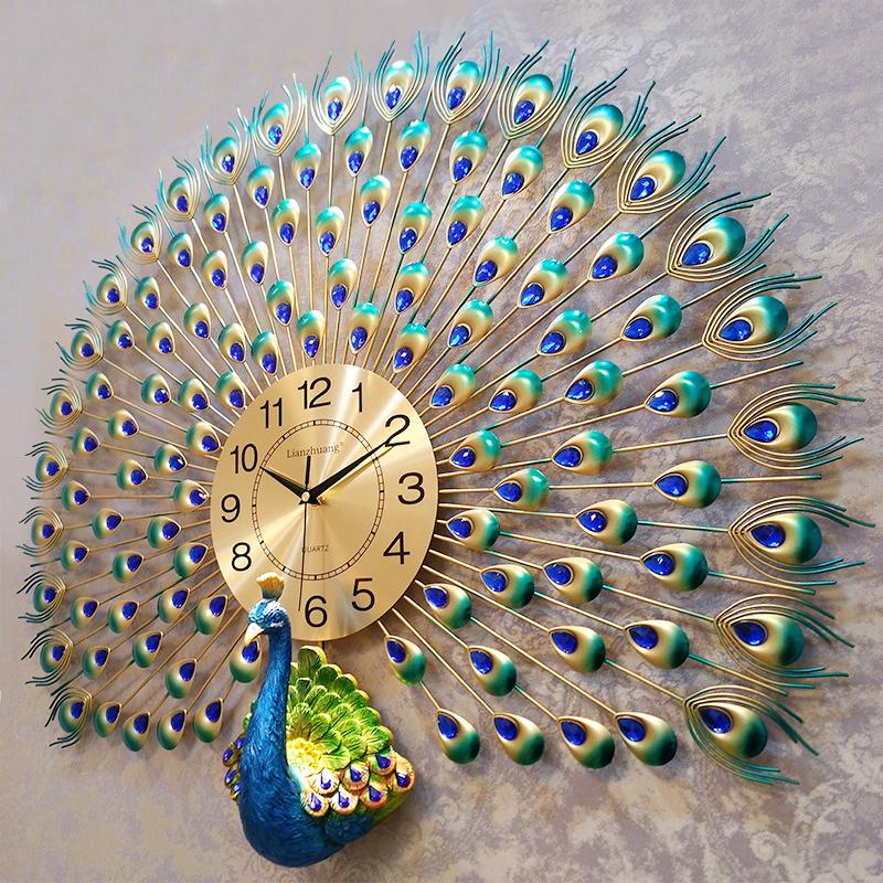 Павлин настенные часы гостиная современный простой круглый континентальный творческий часы домой декоративный колокол спальня немой часы большой