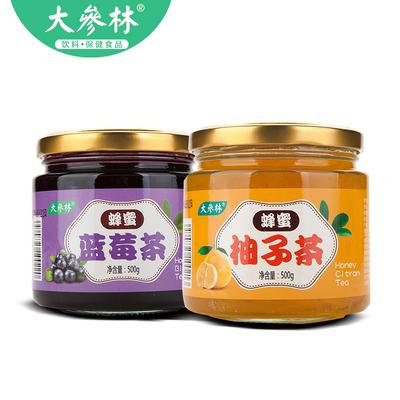 大参林牌 蜂蜜柚子茶 蜂蜜蓝莓茶 500g*2罐 蜜炼酱水果茶
