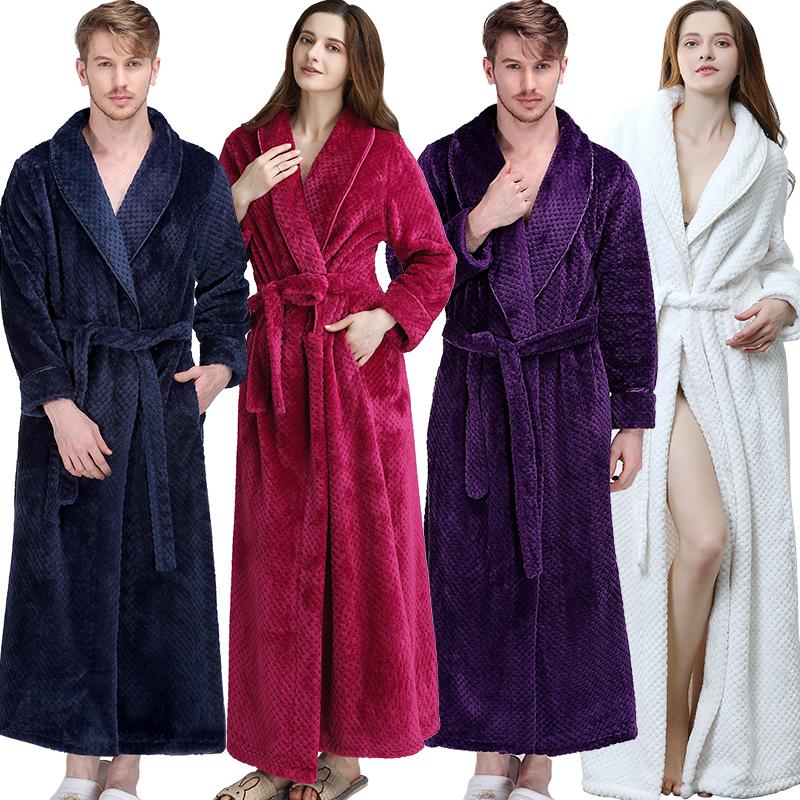 女士睡袍冬季加长加厚款法兰绒男情侣奢华暖格浴袍a女士睡衣绒珊瑚