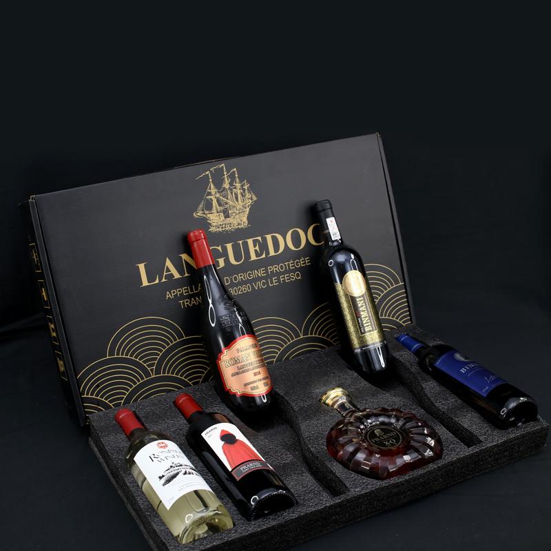 新年特惠红酒礼盒6支装干红葡萄酒干白洋酒果酒XO威士忌送礼礼盒