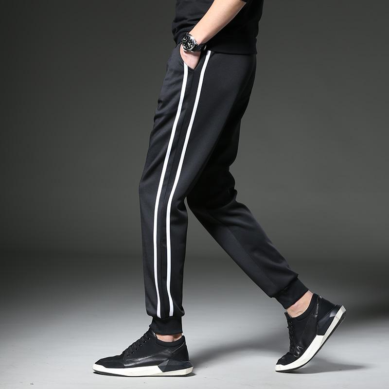 弹力休闲裤男夏季薄款修身直筒男士运动裤黑色束脚裤韩版长裤裤子
