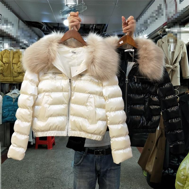 Южная корея восточные ворота 2019 новый зимний осенний воротник обтягивающий стройнящий глянцевый хлопок пиджак короткий пальто женщина 607948477885