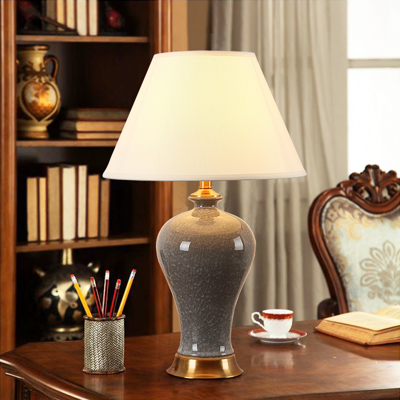 USD 106.46] American living room ceramic table lamp Chinese study ...