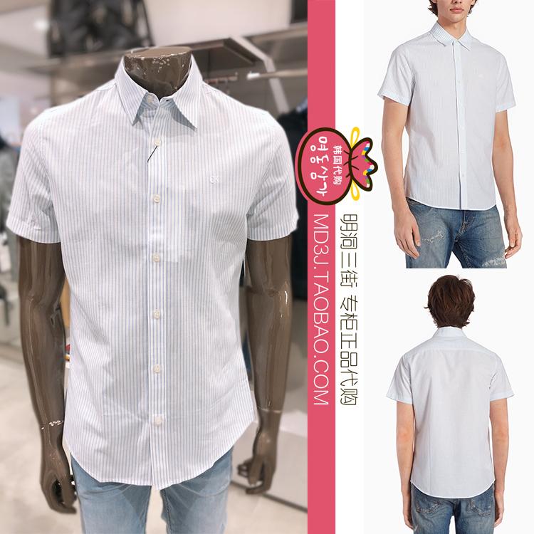 韩国代购CalvinKlein/卡尔文克雷恩19夏男条纹短袖衬衫J311504