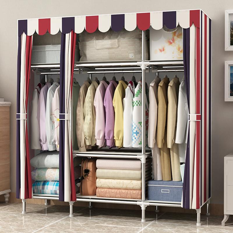 不锈钢简易衣柜布衣柜钢管加粗加固衣柜简约现代经济型布艺衣柜