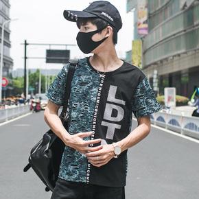 韩版青少年上衣嘻哈潮服男士短袖t恤