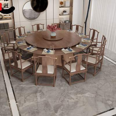 Hotel Electric Dining Table New Chinese Style 20 Person Solid Wood Large Round Table Club Box