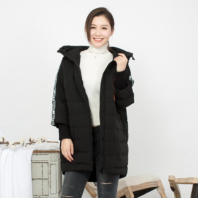 沐珂品牌加厚羽绒服女冬装新款女装宽松连帽中长款卡通印花外套
