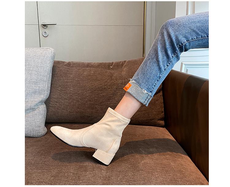 墨染·小馬哥訂製 sw彈力短靴女春秋單靴方頭中粗跟顯瘦ins網紅瘦瘦靴子
