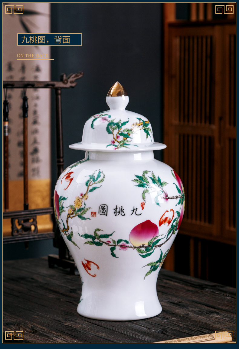 Jingdezhen ceramic vase furnishing articles of Chinese style white hand draw the general pot of home sitting room rich ancient frame porch decoration