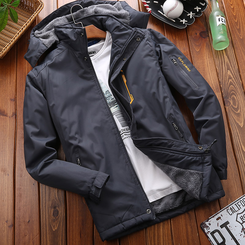 Ai Xibo cotton clothing men's winter coat loose plus velvet plus thick  cotton wool windproof waterproof outdoor cotton clothing 2019 new