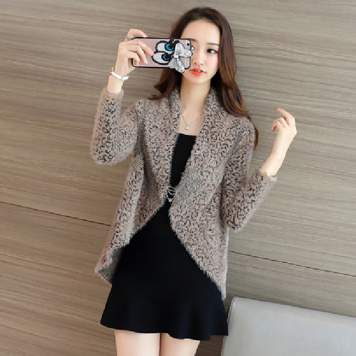 新款长袖2019韩版百搭针织衫毛衣豹纹女装短款小开衫女春秋外套