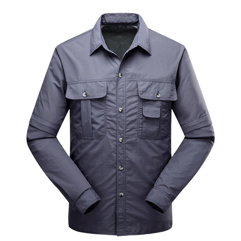 0eb45b96452 Купить Мужской быстросохнущие рубашка два вырезать рукав съемный быстросохнущий  рубашка пот воздухопроницаемый рубашка быстросохнущие брюки мужской  недорого ...