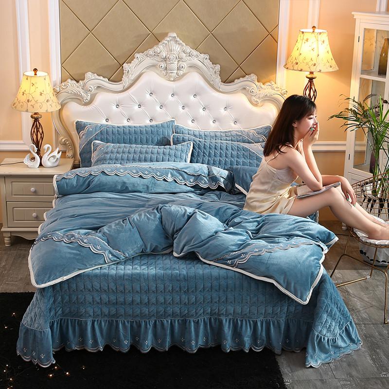 【极致奢华】床盖四件套双面水晶绒被套床单夹棉加厚刺绣床上用品