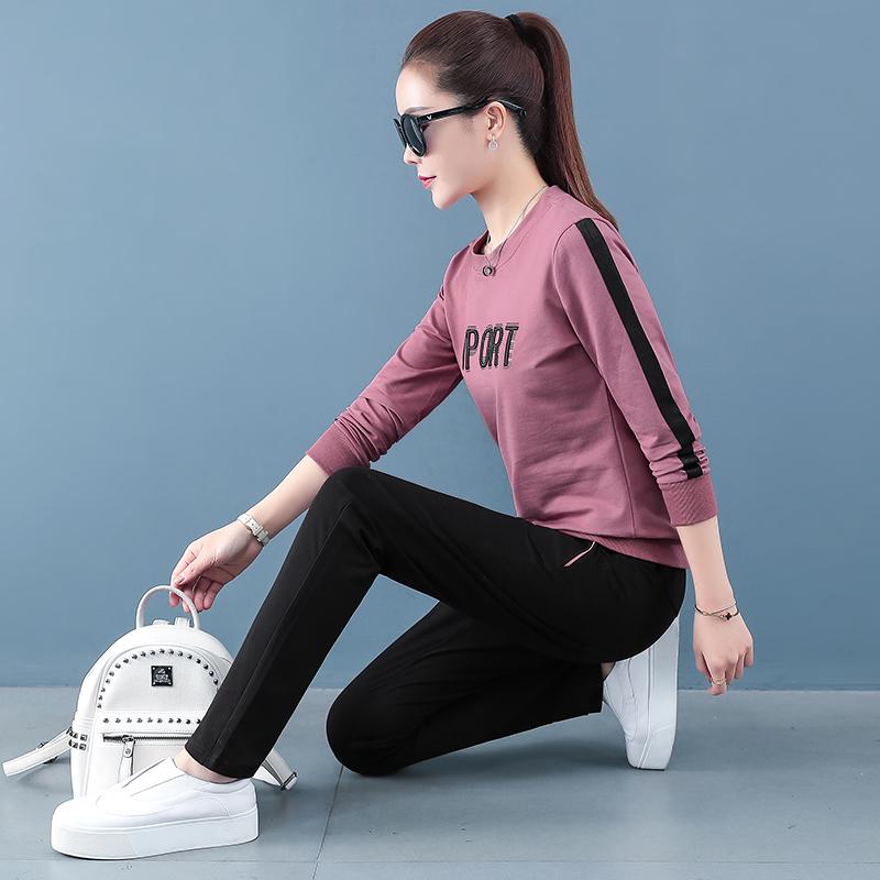 运动休闲套装女春秋季新款洋气减龄两件套修身显瘦撞色晨跑运动服
