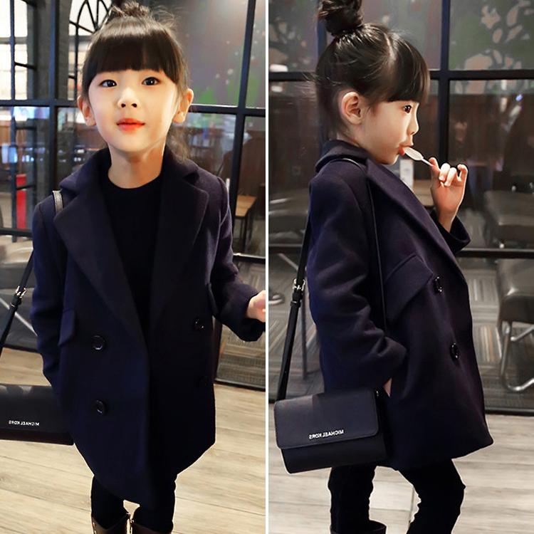 2018 весна новый корейский твердый пальто шерстяной пальто ребенок шерстяной костюм пальто длина пальто