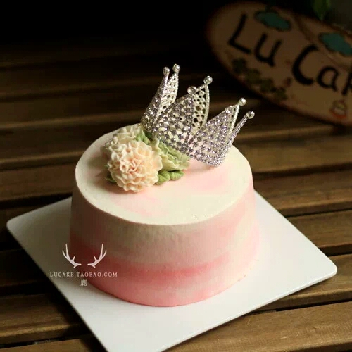 Super Hot Baked Birthday Cake Decorated Crown Plug Korean Pearl Tiara Funny Birthday Cards Online Inifofree Goldxyz