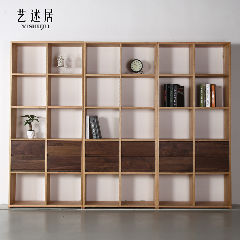 Simple Japanese Black Walnut Oak Solid Wood Bookshelf Shelf Bookcase Combination Wax Environmental Protection