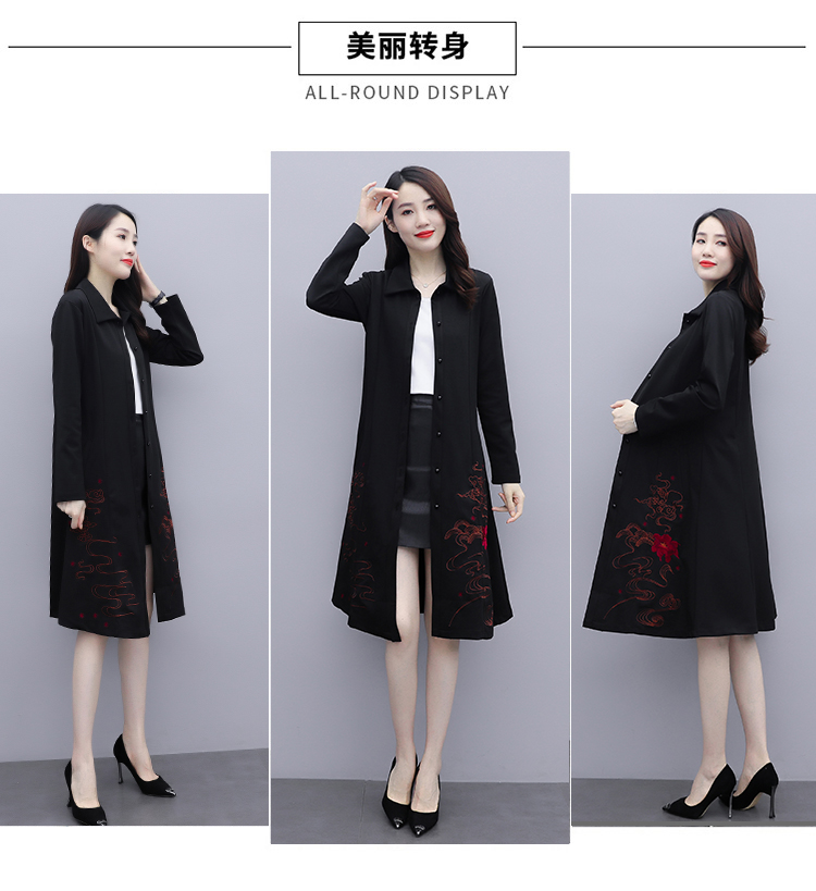 Black large-size embroidered windcoat female medium-length autumn/winter 2020 new foreign air age-reducing thin temperament coat woman 42 Online shopping Bangladesh