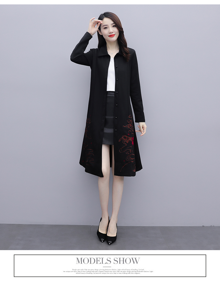 Black large-size embroidered windcoat female medium-length autumn/winter 2020 new foreign air age-reducing thin temperament coat woman 51 Online shopping Bangladesh