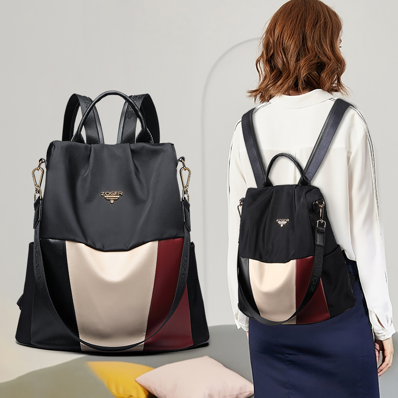 zoger oxford cloth shoulder bag female 2019 new trend stitching casual buckle fashion anti-theft travel bag