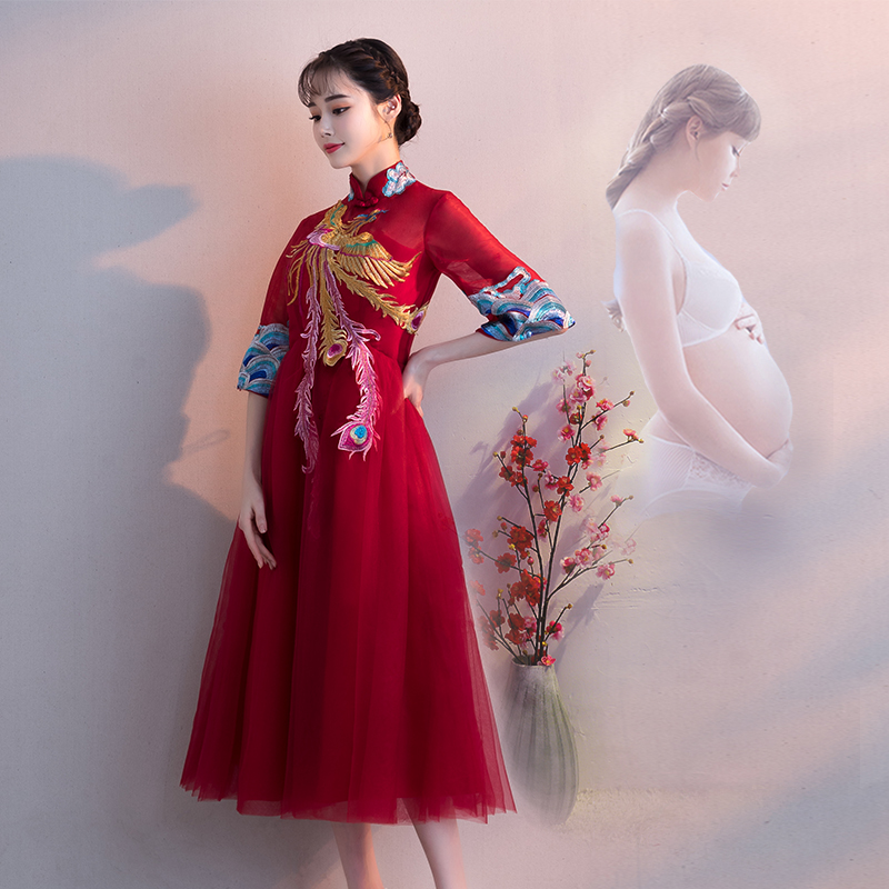 15f6d9234 Show Wo clothes pregnant women toast clothing bride 2019 new spring red  Chinese wedding dress female ...