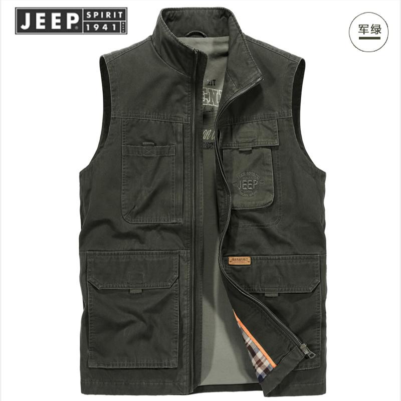 Jeep JEEP sản phẩm mới 2019 áo vest nam cotton nam giản dị nhiều túi ấm áo vest nam chính hãng - Áo vest cotton