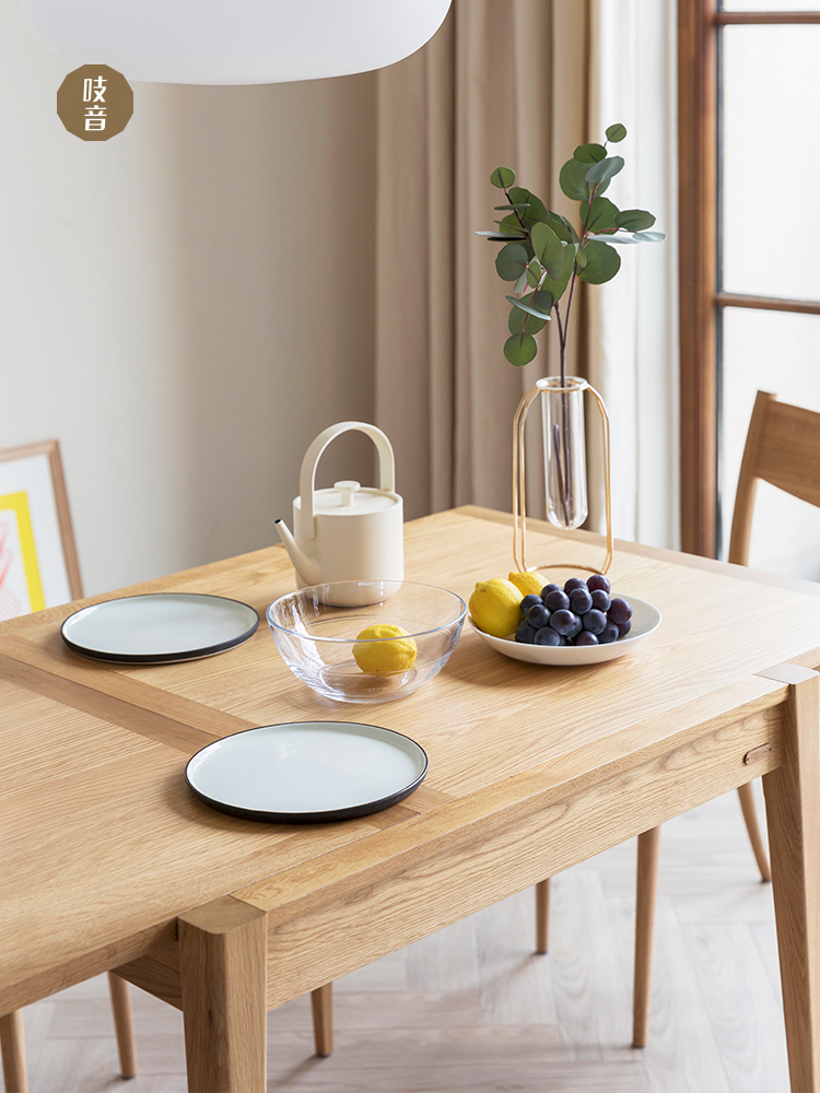 吱音森叠桌北欧家用小户型日式白橡木简约现代原木功能餐桌椅组合_图5