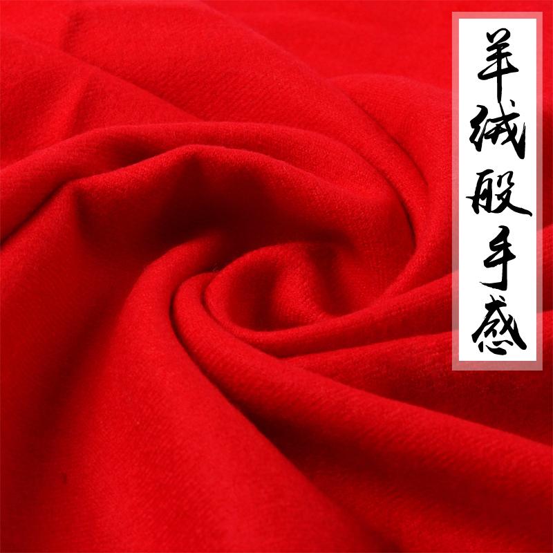 春秋季中国红羊毛女围巾秋天薄款仿披肩羊绒秋冬季大红色两用棉麻