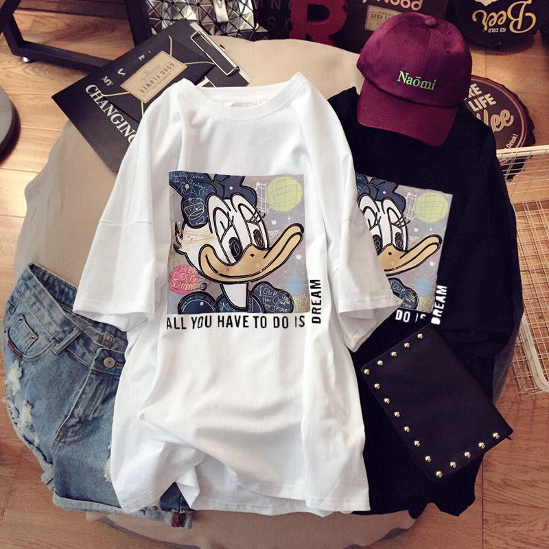 韩高莉纯棉大码中长款t恤女装夏季爆款商品图片-2