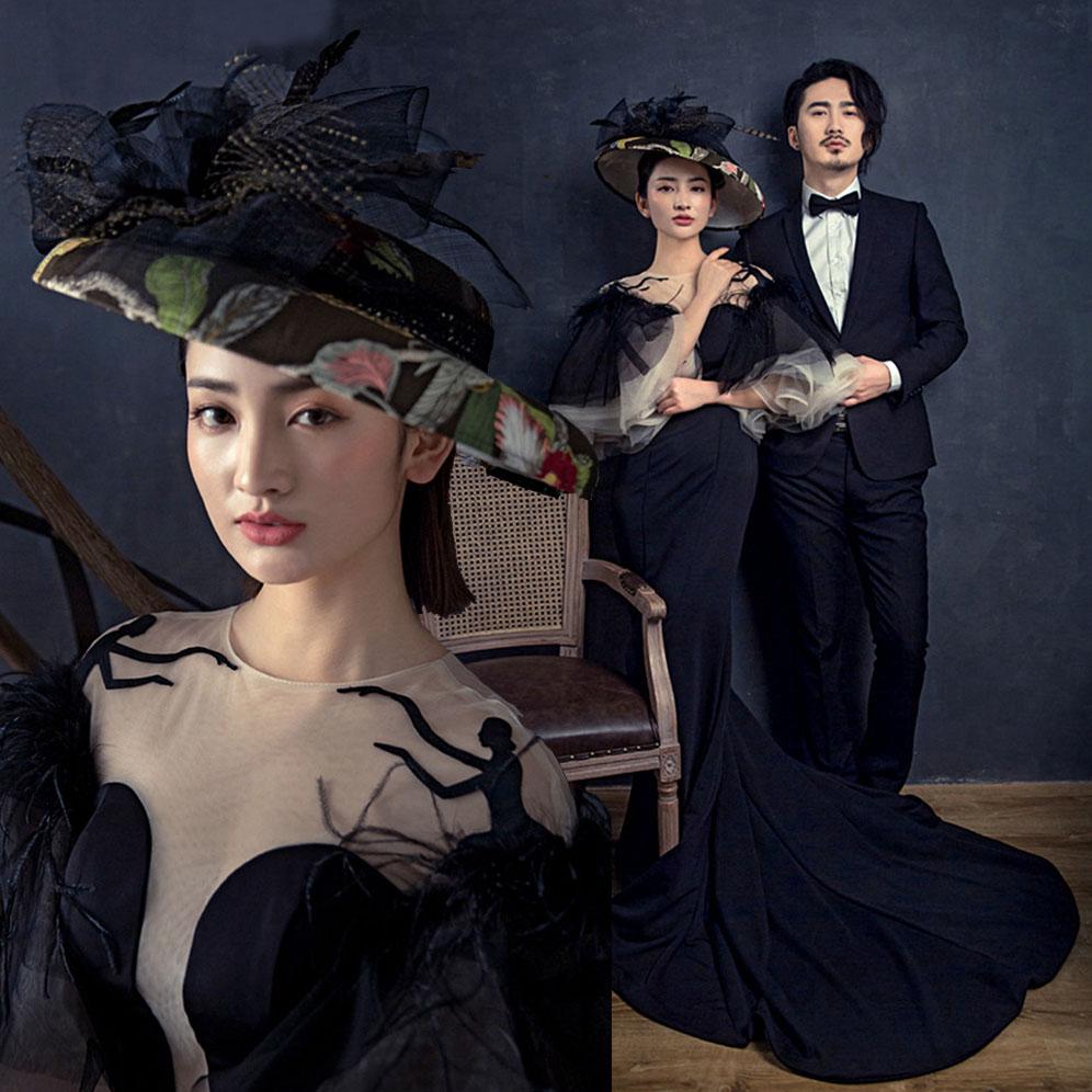 黑色鱼尾拍照婚纱影楼主题服装外景旅拍摄影轻婚纱主持走秀礼服