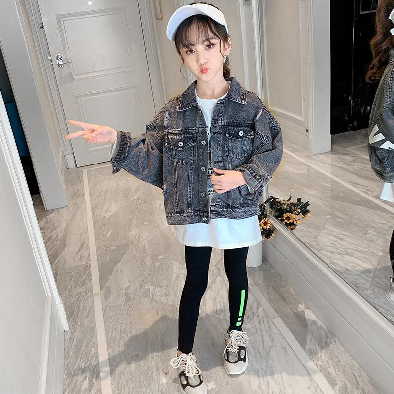 上衣秋装女孩牛仔服2019新款洋气韩版外套中大童女童11岁夹克衫