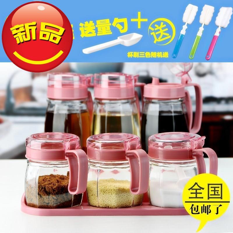 调料玻璃透明调h味罐厨房三家用装盐灌带勺盖胡椒瓶花椒件套调味