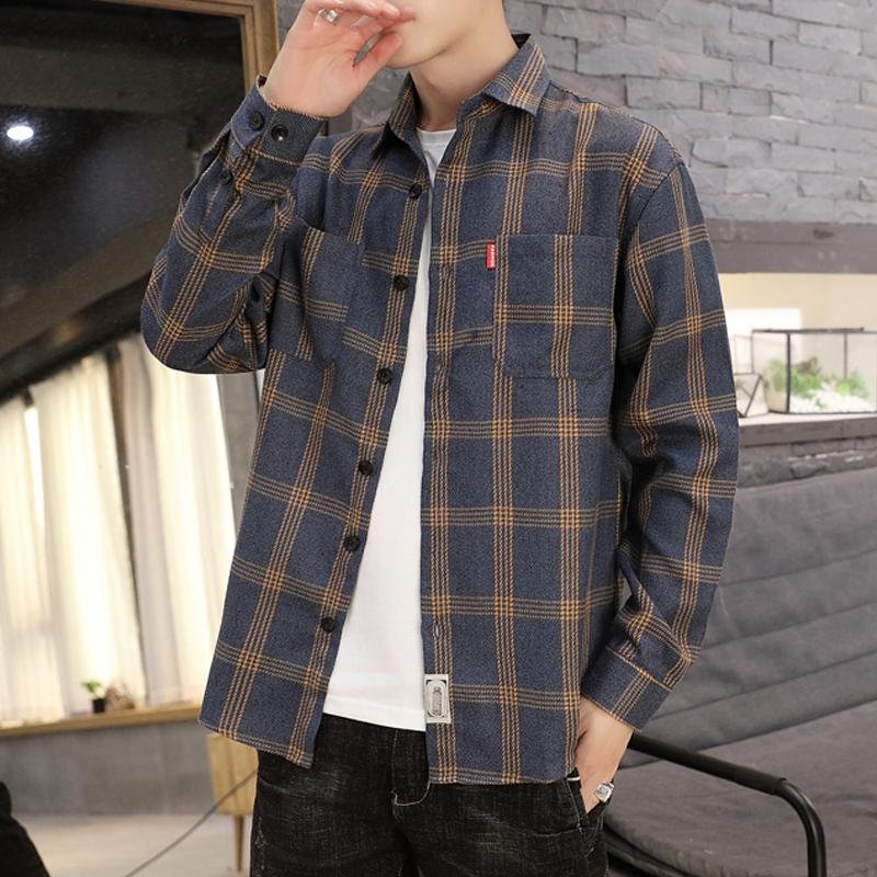 69.00元包邮男士春秋季格子衬衫长袖韩版外套上衣服男装
