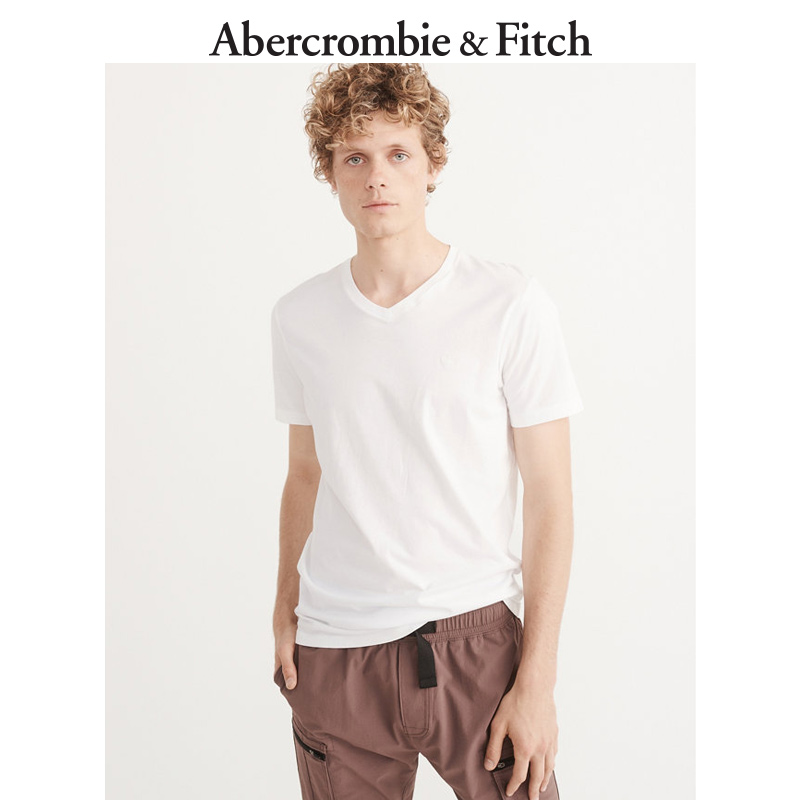 Special offer for the season Abercrombie & Fitch men's clothing printing and dyeing V-neck logo T-shirt 169955 AF