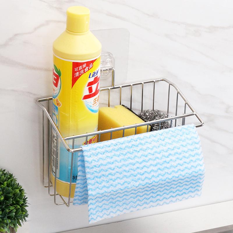 304不锈钢厨房挂篮水槽置物架海绵洗碗布收纳用品百洁布沥水架
