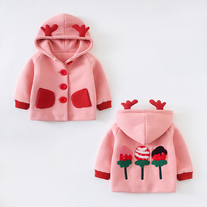 Girls spring dress 1-3 year old baby coat female spring and autumn cardigan top 2 infants go out to wear warm windbreaker 4