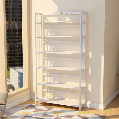 White simple book shelf landing student simple economy storage solid wood sailing multi-layer bamboo bookcase