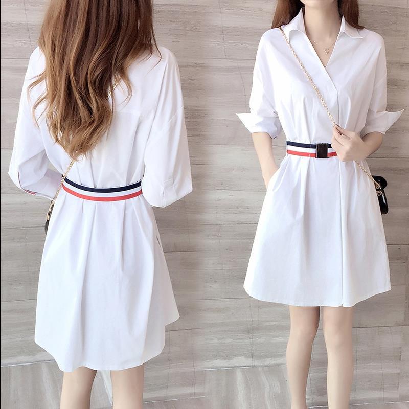 白色V领衬衫连衣裙女收腰显瘦裙子2020春夏新款温柔风衬衣显高